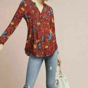 Maeve Anthropologie Top Small Red Floral Blouse